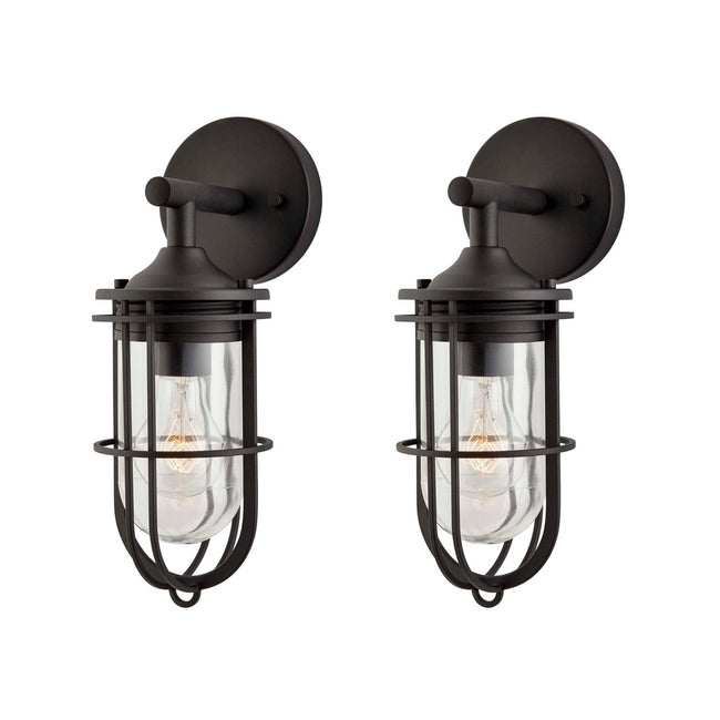 technology-2-Pack Dupont Outdoor Wall Lantern / Sconce Down-Facing Waterproof Light - Black
