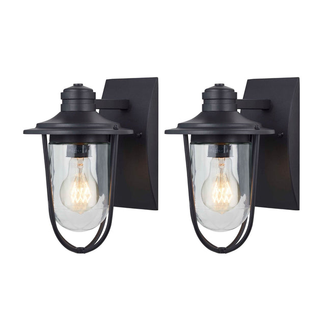 technology-Wellesley Outdoor Wall Lantern / Sconce Down-Facing Waterproof Light - 2 Pack - Black