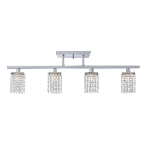 Cora Track Lighting Kit Fixed Crystal Ceiling Fixture - 4-Light - Chrome
