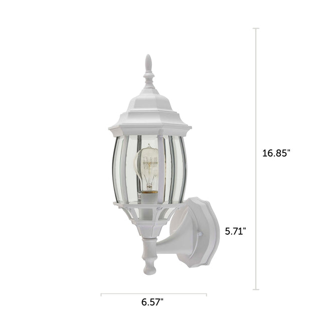 "Nobela Outdoor Wall Lantern / Sconce Waterproof Up-Facing Light - White with dimensions of 16.85"" x 6.57"""