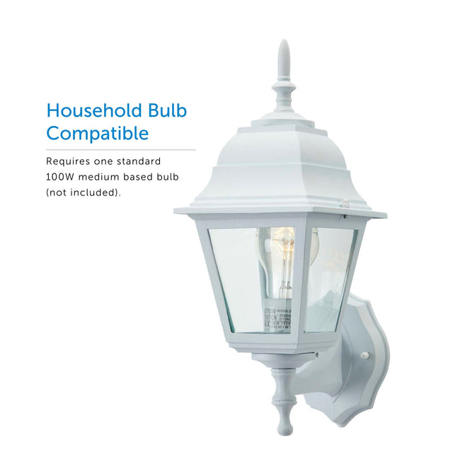 Coach Outdoor Wall Lantern - White, on a white background angled to the left displaying the bulb inside