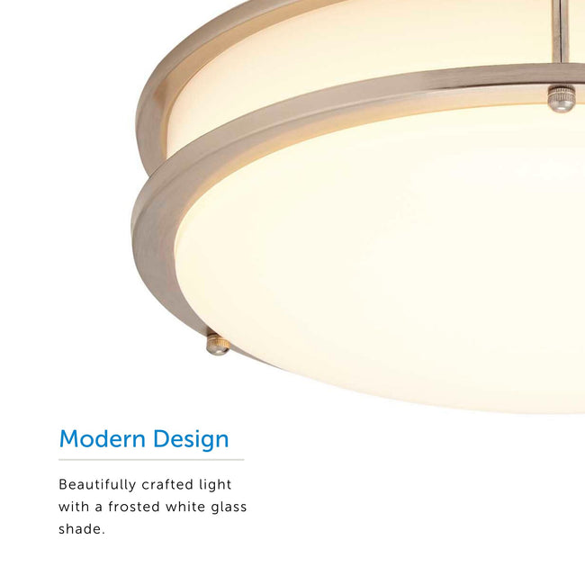 "LED Flush Mount Ceiling Light Thin Design And Dimmable - 14"" Width - Brushed Nickel"