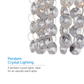 Pendant crystal lighting hang from the Cora track light