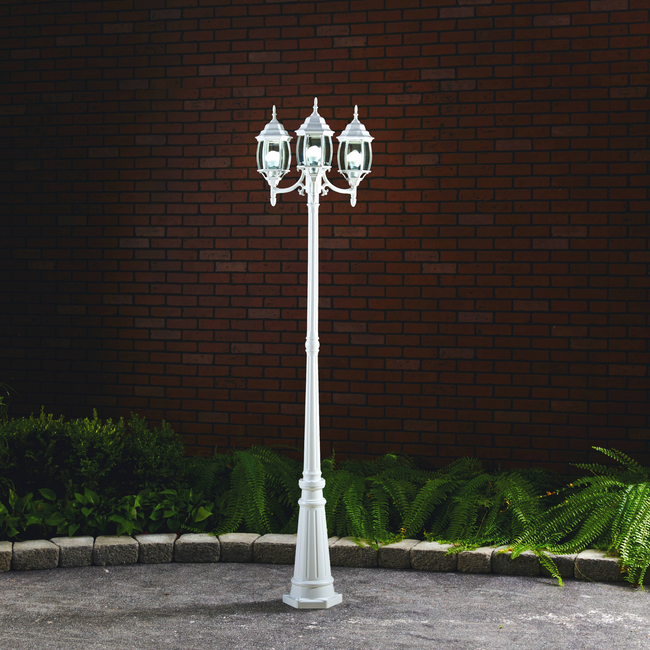 Nobela Outdoor Lamp Post / Street Light Waterproof Three-Head Up Facing  - 7 Ft - White