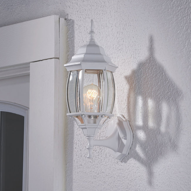 Nobela Outdoor Wall Lantern / Sconce Waterproof Up-Facing Light - White on a white wall with its light turned on.