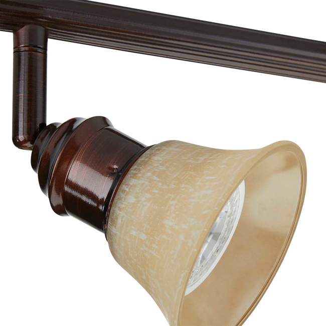 Stratford Track Lighting Kit Adjustable Ceiling Fixture - 3-Light - Cream & Oil Rubbed Bronze