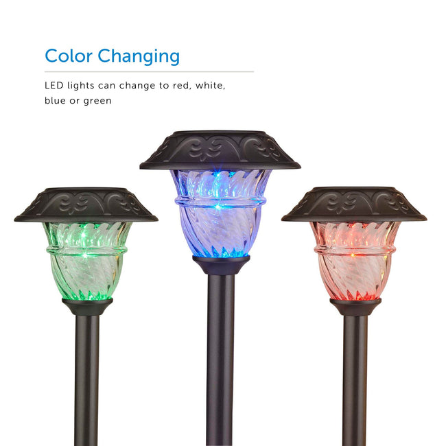 Three pearl grey solar power lights in different colors - green, blue, red