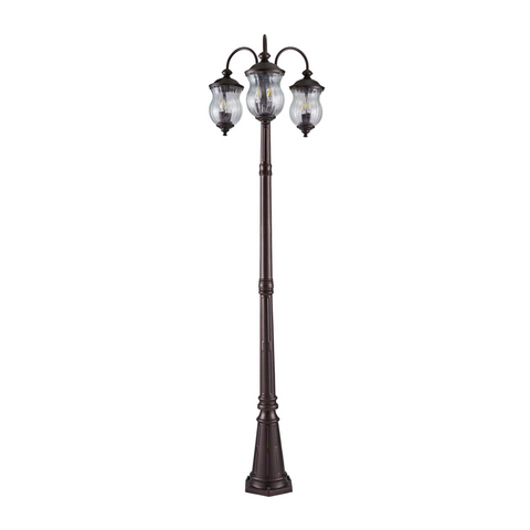 Bronze outdoor 3 headed lamp post