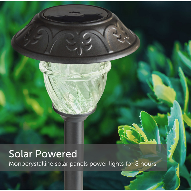 Solar path light in a garden setting - powers lights for 8 hours