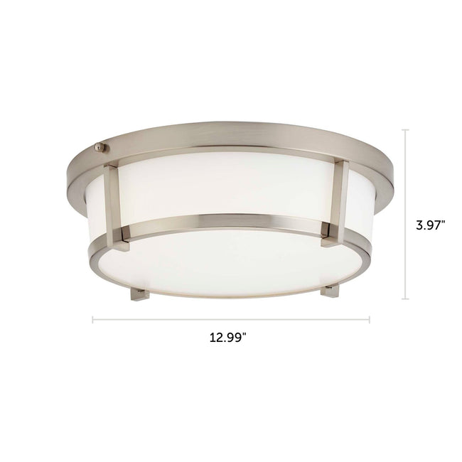 "LED Flush Mount Ceiling Light Cage Design And Dimmable - 13"" Width - Brushed Nickel"