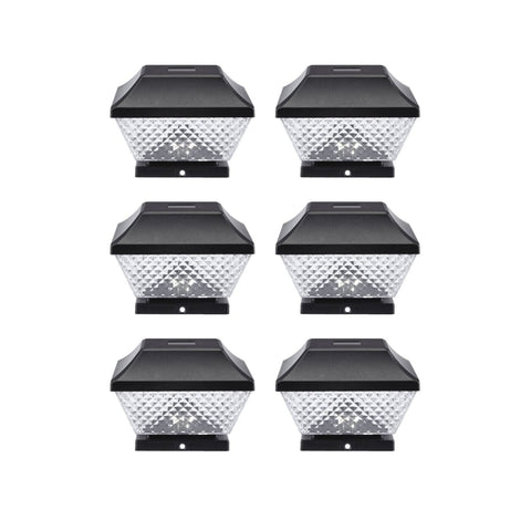 Diamond Solar Post cap LED Lights With Auto On/Off - 6 Pack - Black