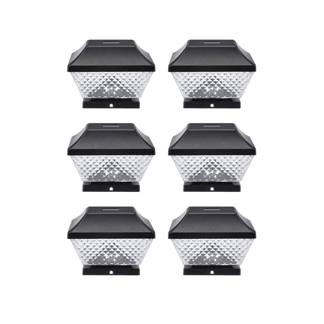 6 Black dimond solar post cap lights on a white background