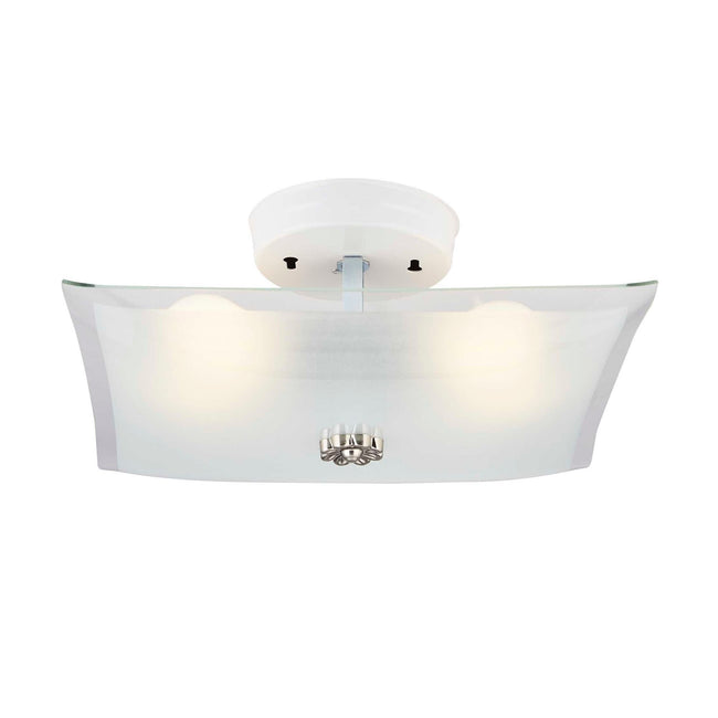 "Flush Mount Ceiling Light With Frosted Glass Shade - 12"" Width - White"