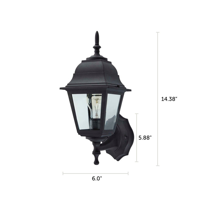 "Coach Outdoor Wall Lantern / Sconce Reversible Waterproof Light - Black with dimensions of 14.38"" x 6.0"""