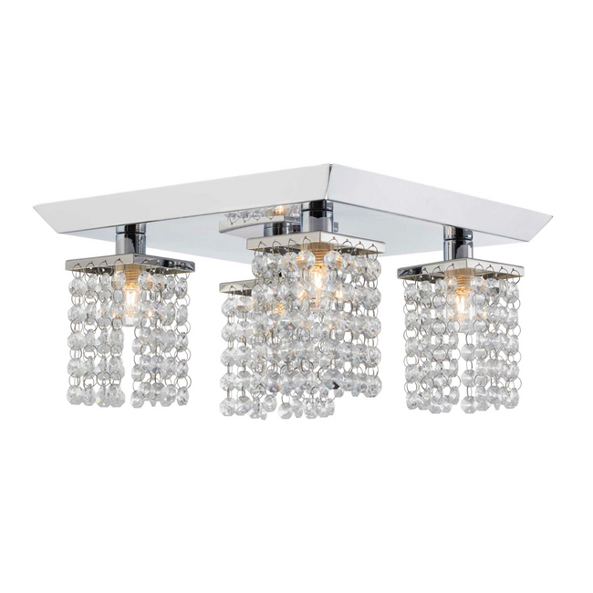Cora Track Lighting Kit Semi-Flush-Mount Crystal Ceiling Fixture - 4-Light - Chrome
