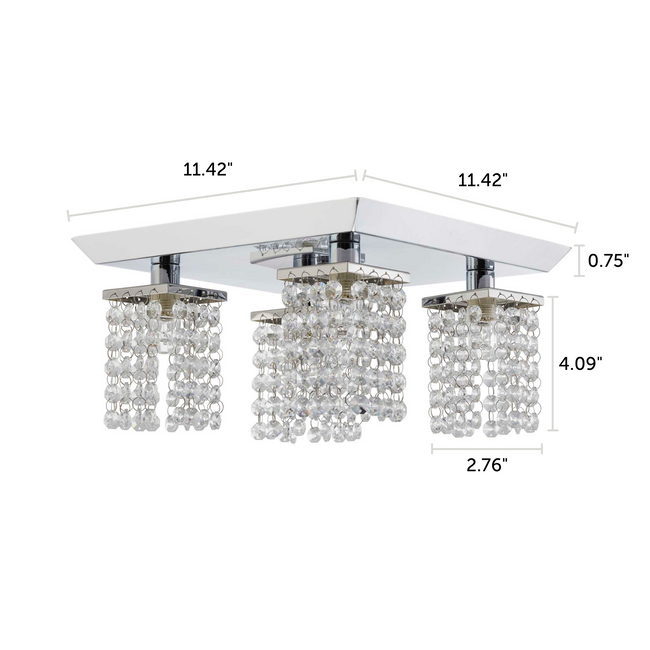 "Cora 4-light chrome track light semi-flush dimensions - 11.42"" X 11.42"" X 4.84"""