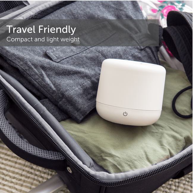 Small ultrasonic humidifier resting in a travel friendly suitcase