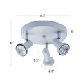 "Summerhill Track Lighting Kit Adjustable Semi-Flush-Mount Ceiling Fixture - 3-Light - White with dimensions of 8.5"" x 6"""