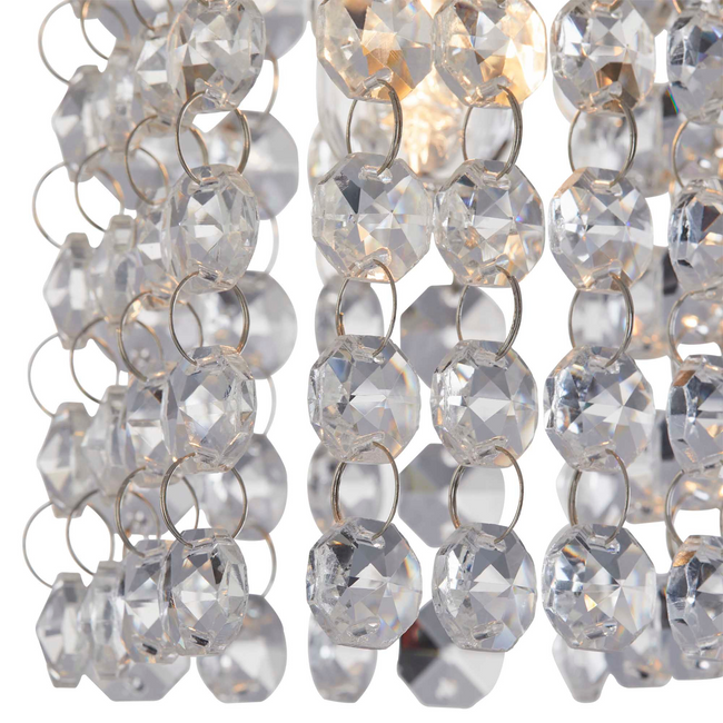 Cora semi-flush-mount track light pendant crystals - illuminated light bulb