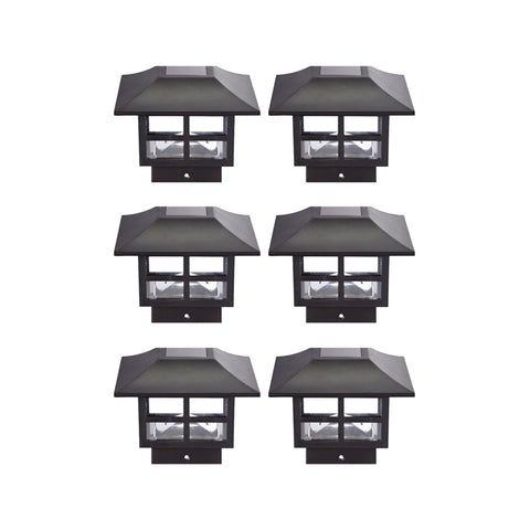Nautical Solar Post Cap LED Lights With Auto On/Off - 6 Pack - Black