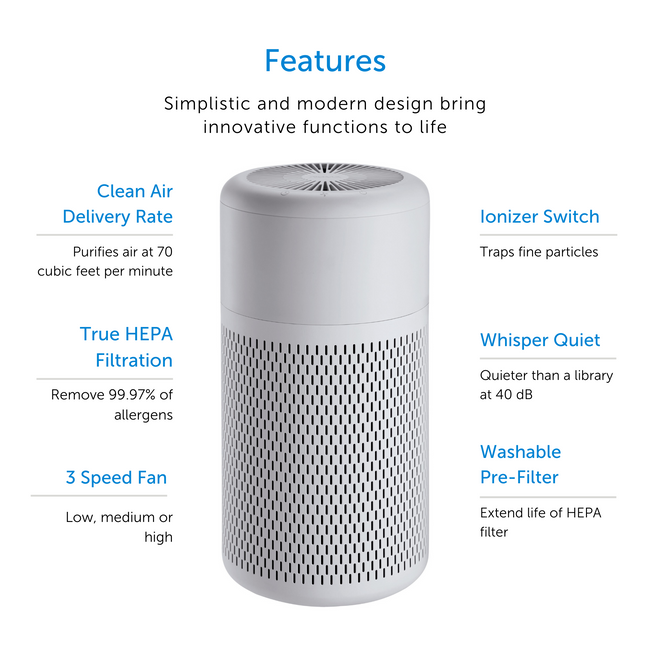 Small white air purifier displaying features
