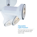 Close up on Summerhill Track Lighting Kit Adjustable Semi-Flush-Mount Ceiling Fixture head and its different adjustable light positions