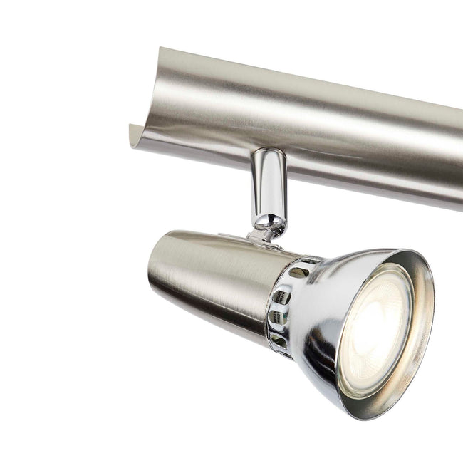 matte nickel & chrome track light head close up - bulb illuminated
