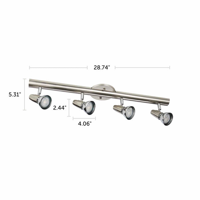 "Futura matte nickel & chrome 4-light fixture dimensions - 28.74"" X 5.31"""
