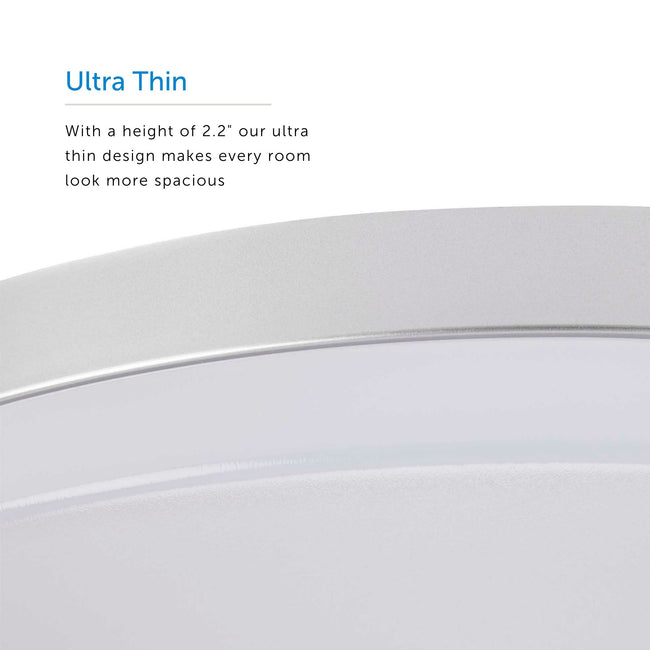 "LED Flush Mount Ceiling Light Ultra-Thin Design And Dimmable - 13"" Width - Brushed Nickel"