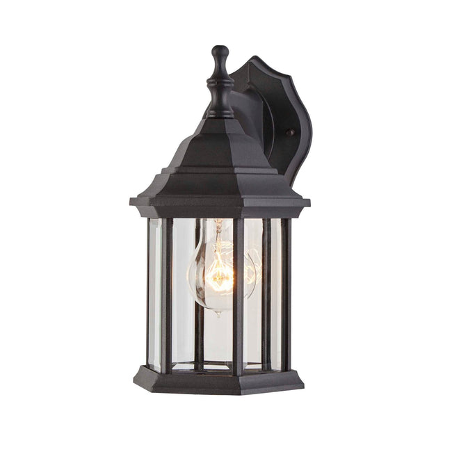 Hampshire Outdoor Wall Lantern / Sconce Down-Facing Coach Style Waterproof Light - Black