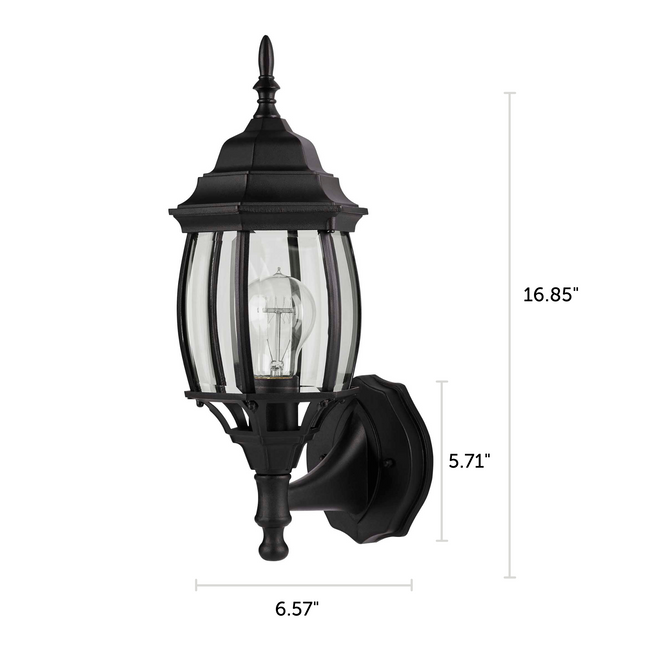 "Nobela Outdoor Wall Lantern / Sconce Waterproof Up-Facing Light - Black with dimensions 16.85"" x 6.57"""