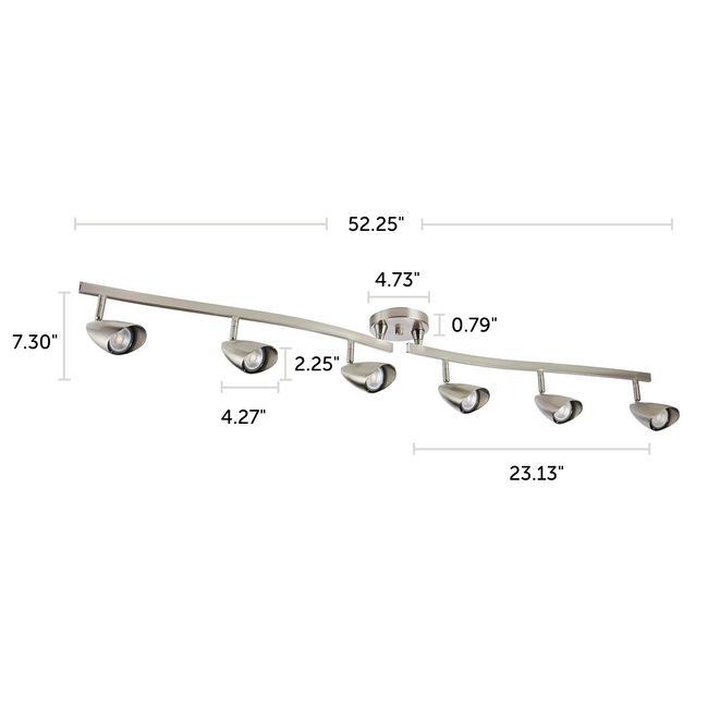 "Osgoode Track Lighting Kit Adjustable / Foldable Ceiling Fixture - 6-Light - Chrome with dimensions of 52.25"" x 7.30"""