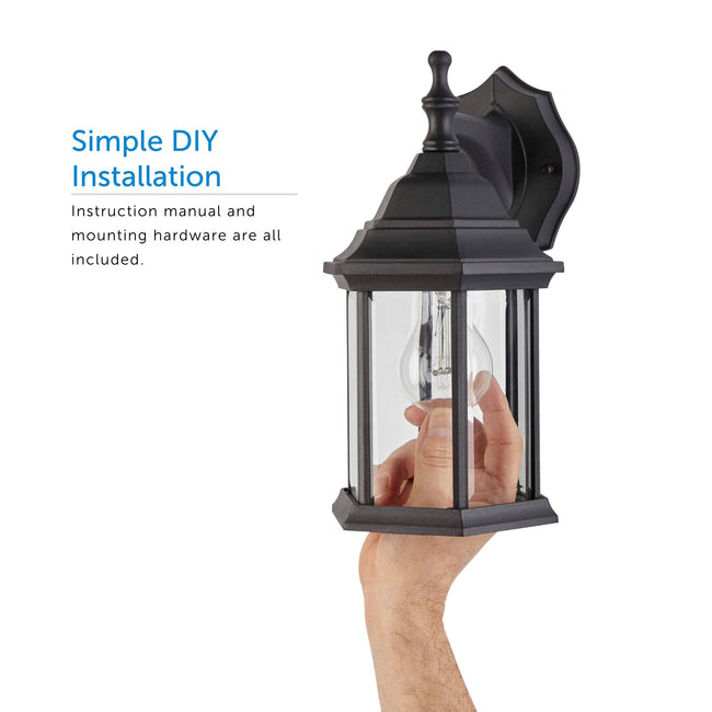Close up of the Hampshire lantern and a call out for Simple DIY Installation