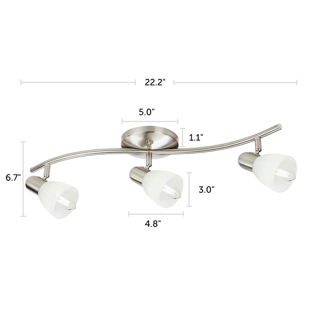 "Madrid Track Lighting Kit Adjustable Ceiling Fixture - 3-Light - Matte Nickel with dimensions of 22.2"" x 6.7"""