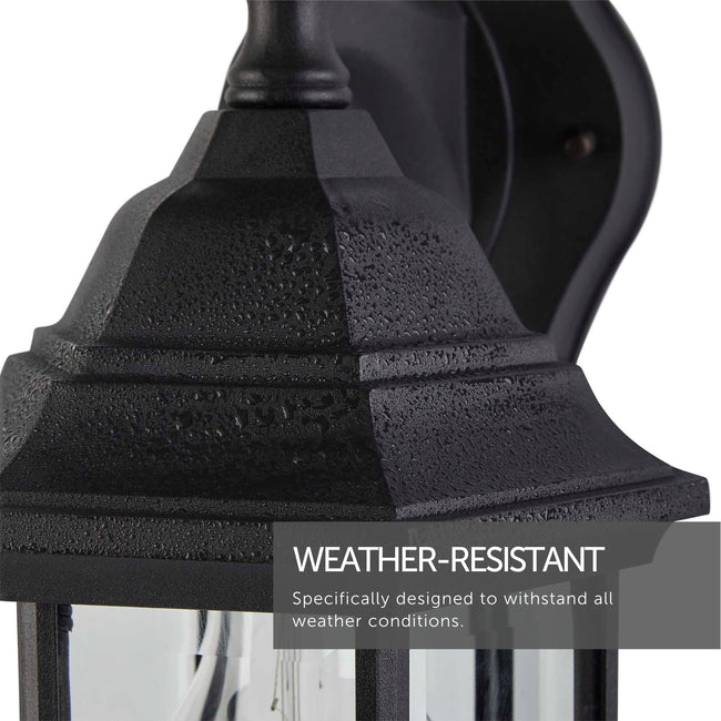 Extreme close up of the top of the lantern. Shows the material of the Lantern and its weather resistant black finish