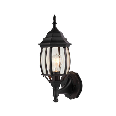 Nobela Outdoor Wall Lantern / Sconce Waterproof Up-Facing Light - Black on a white background, angled to the left.