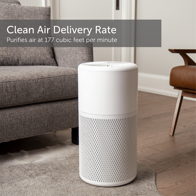 Large white air purifier in a home environment