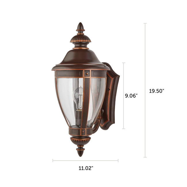 "Manor Outdoor Wall Lantern / Sconce Up-Facing Waterproof Light - Bronze with dimensions of 19.50"" x 11.02"""