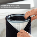 Large washable pre-filter on a marble counter