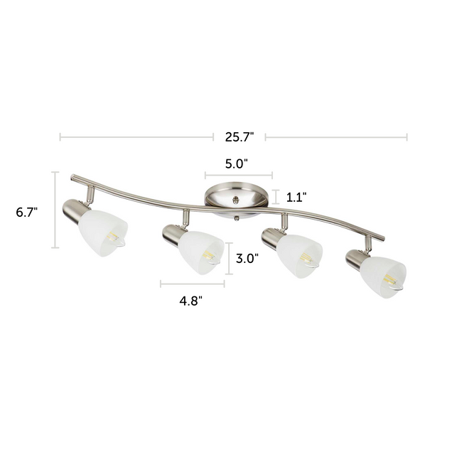 "Madrid Track Lighting Kit Adjustable Ceiling Fixture - 4-Light - Matte Nickel with dimensions of 25.7"" x 6.7"""