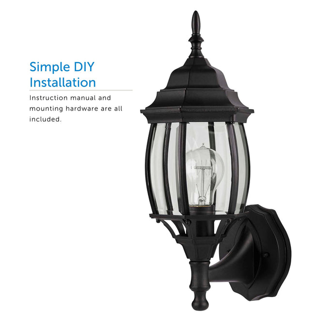 Close up of the Black Up-Facing Nobela Outdoor Wall Lantern  and a call out for Simple DIY Installation
