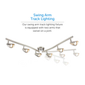 Osgoode Track Lighting Kit Adjustable / Foldable Ceiling Fixture with its different adjustable arm prositions. The swing arm track lighting fixture is equipped with two arms that swivel on a joint.