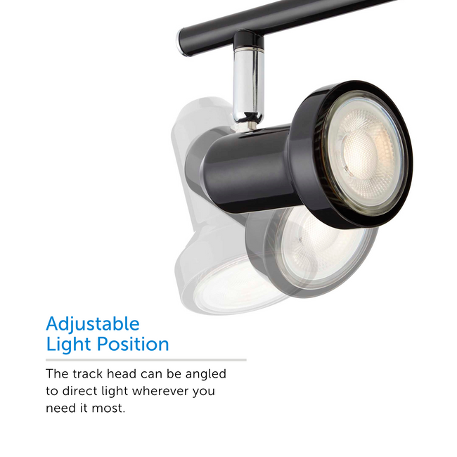 Black Bay track light showcasing adjustable light position – showcasing 3 positions