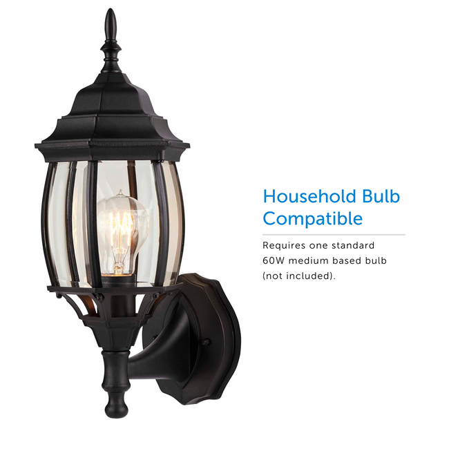 Nobela Outdoor Wall Lantern / Sconce Waterproof Up-Facing Light - Black titled to the left with a visual of the light bulb