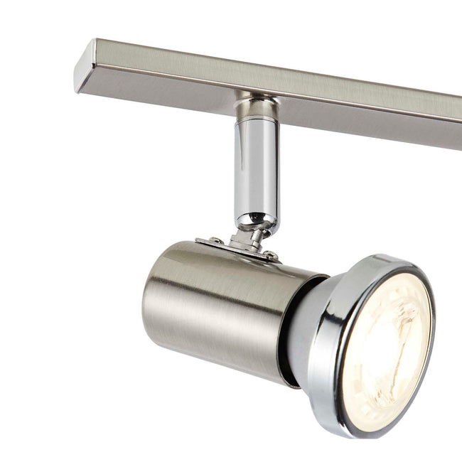 Close up on the head of the Protino Track Lighting Kit Adjustable Ceiling Fixture - 6-Light - Matte Nickel & Chrome