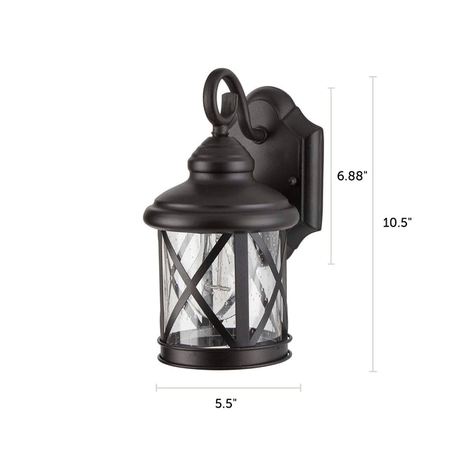 "Crossed Outdoor Wall Lantern / Sconce Down-Facing Waterproof Light - 2 Pack - Black with dimensions of 10.5"" x 5.5"""