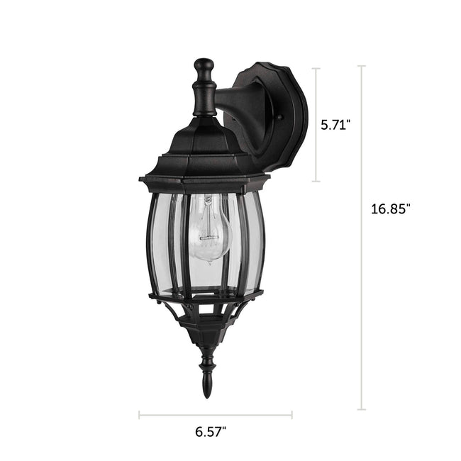 "Nobela Outdoor Wall Lantern / Sconce Waterproof Down-Facing Light - Black with dimensions of 16.85"" x 6.57"""