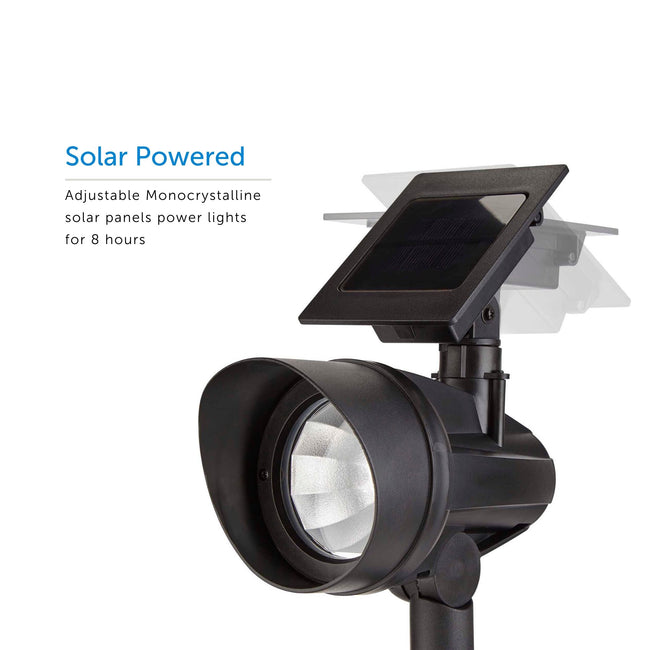 Solar LED Path light showing its adjustable solar panel with multiple positions