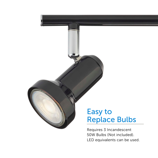 Black Bay Track light angled left – showcasing easy to replace light bulb