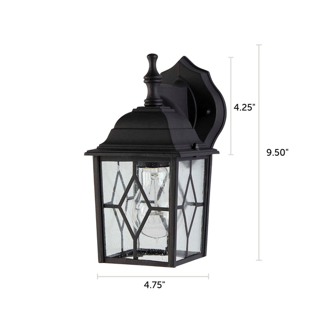 "Diamond Outdoor Wall Lantern / Sconce Down-Facing Waterproof Light - 2 Pack - Black with dimensions of 9.50"" x 4.75"""